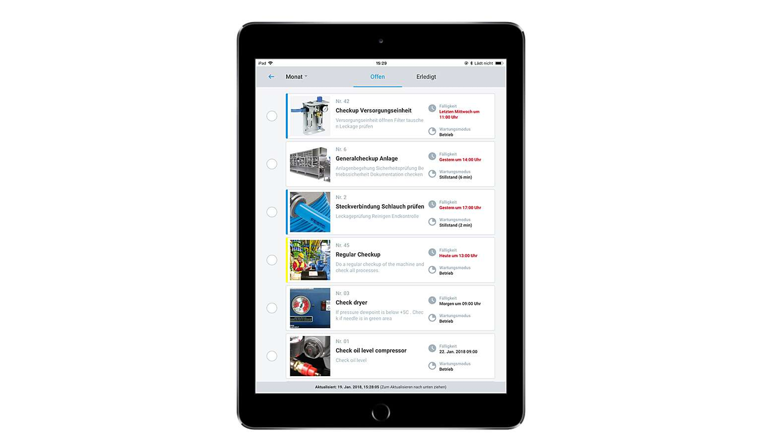 The maintenance calendar as an app for the facility operators