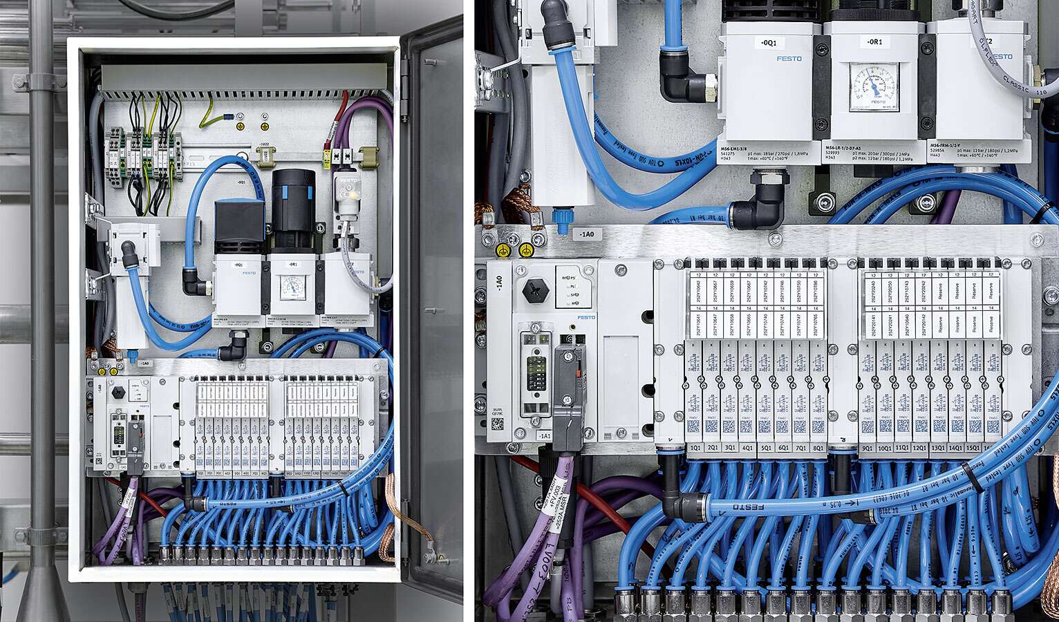 A total of 250 standardised control cabinets and 6,000 valves from Festo are installed in the large Biotest plant. Festo was actively involved right from the definition phase of the plant.