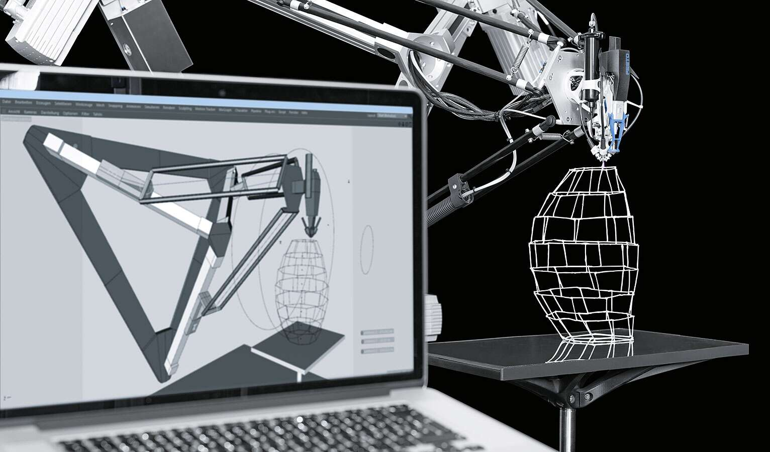Digital fabrication: the software transfers the geometry of the structure directly to the tripod's travel paths