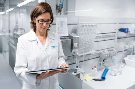 Life Science: woman laboratory tablet