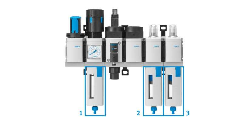 Compressed air preparation with filters