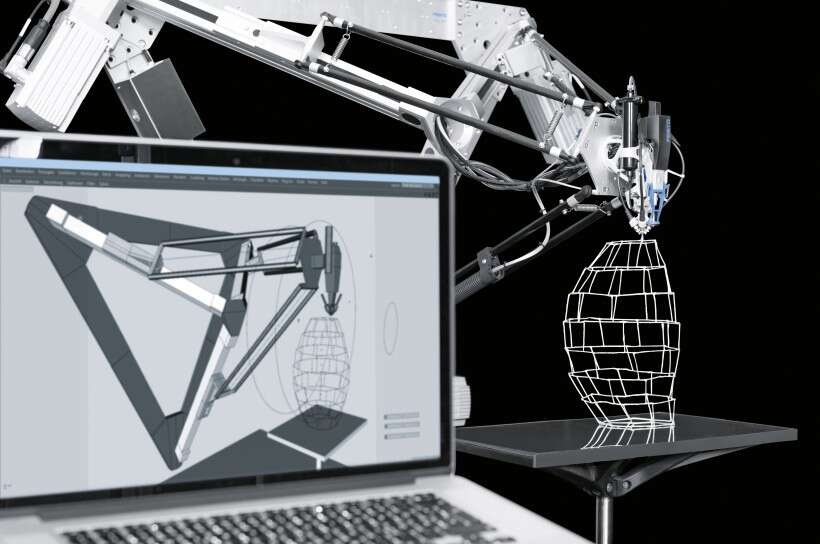 Digital production: the software transfers the geometry of the structure directly to the parallel kinematic system's motion paths.