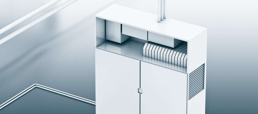 Control cabinet for clean compressed air preparation