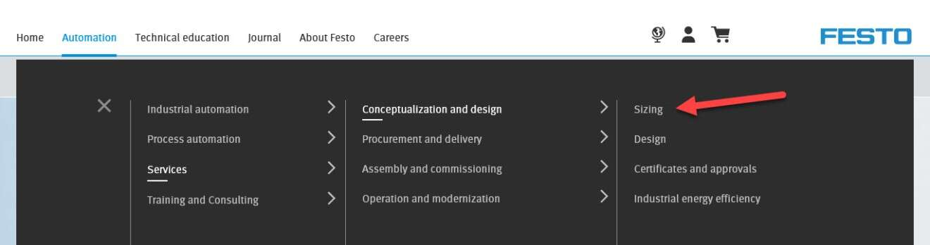 Click on 'Automation' > 'Services' > 'Sizing' to start the tool.