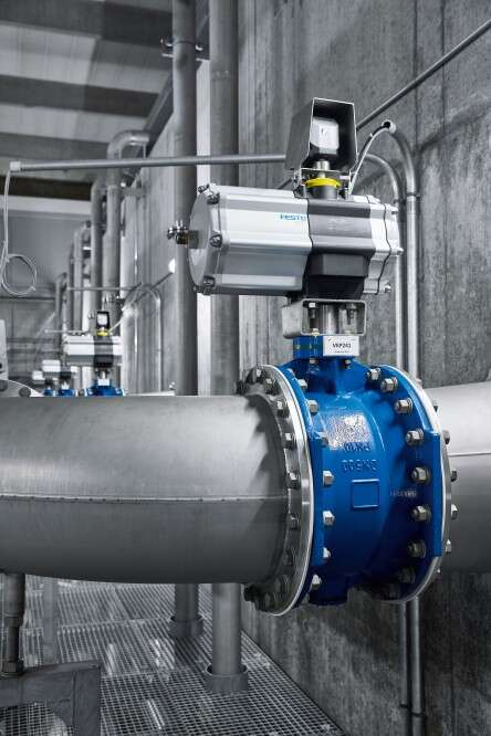 Regulation of the butterfly valves at the Langenau water works, with the DAPS electric rotary actuator