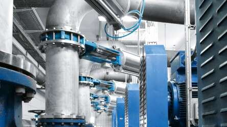 Automated process valves at the water works in Sindelfingen, Germany