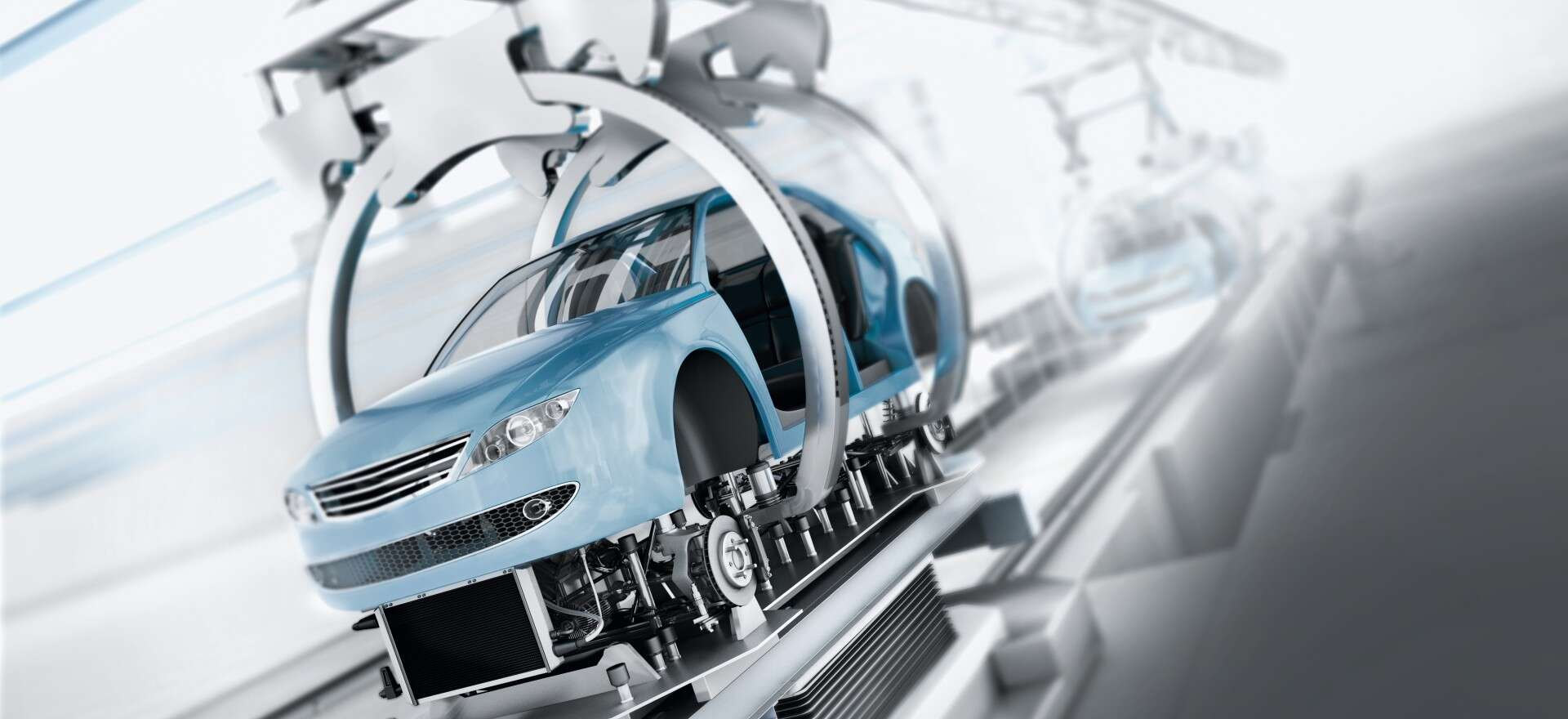 Assembly line in automotive production