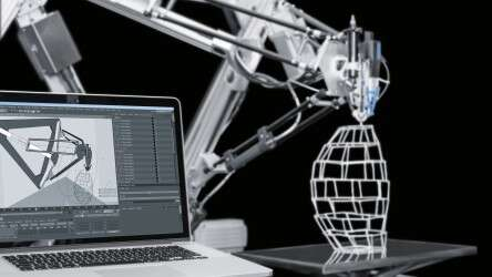 Festo 3D Cocooner: both the shape model and industrial robot are virtually stored in the animation software