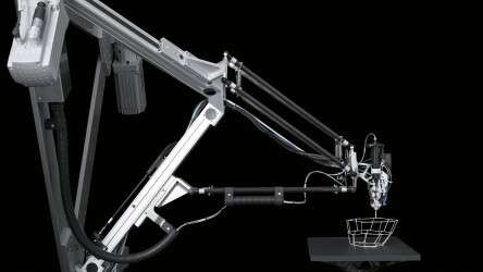 Festo 3D Cocooner: the highly mobile parallel kinematic system allows the nozzle to move freely in space