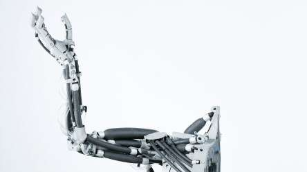 Robot arm with bionic design: Festo Airic's_arm consists of artificial bones and muscles