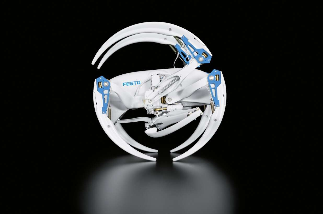 The Festo BionicWheelBot in rolling mode with retracted kick legs