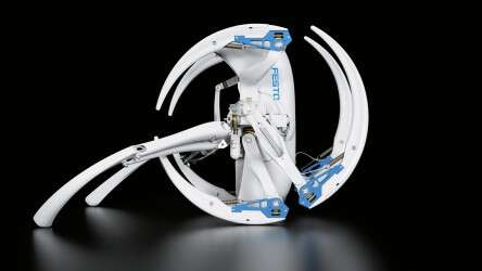The Festo BionicWheelBot in rolling mode with extended kick legs