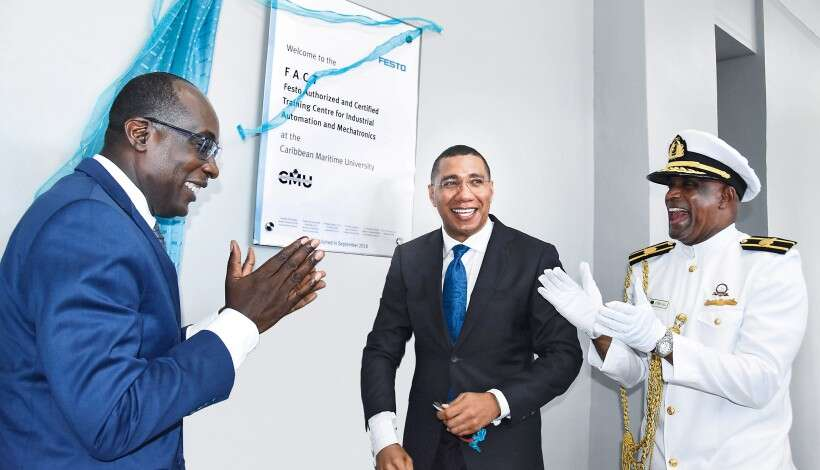 Jamaica's Prime Minister, Andrew Holness, at the opening of the FACT Centre