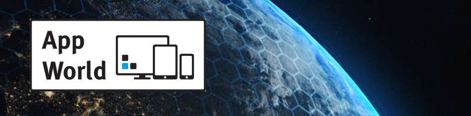 Closeup of digital hexagons on earth with the AppWorld logo
