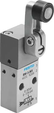 Pneumatic valve with M5 port, mechanically actuated