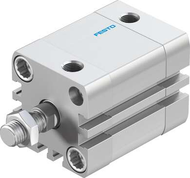Compact air cylinder, double-acting