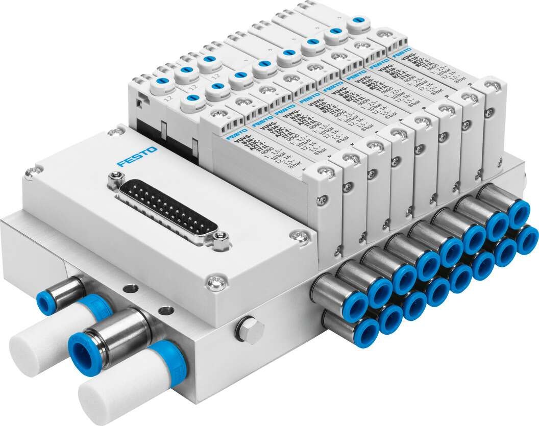 Valve manifold VTUG with multi-pin plug or fieldbus connection
