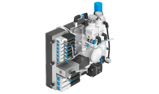 50% less installation space than a conventional solution with numerous individual tubing connections for each pneumatic component: the valve control block in the QUBE pro