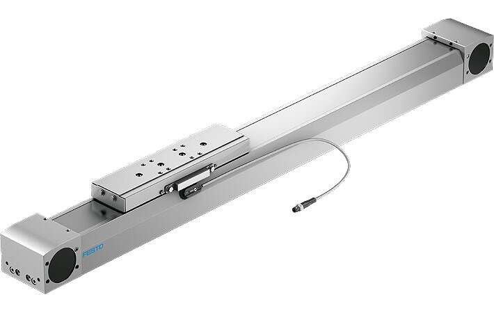 Food-safe toothed belt axis ELGA-TB-F1 in clean design including sensor to IP67