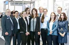The six Festo Scholarship holders with their mentors Dr. Volker Nestle, Dieter Waller, Karin Maiwald, Carmen Weyell and HR Director Alfred Goll (r. to l.).